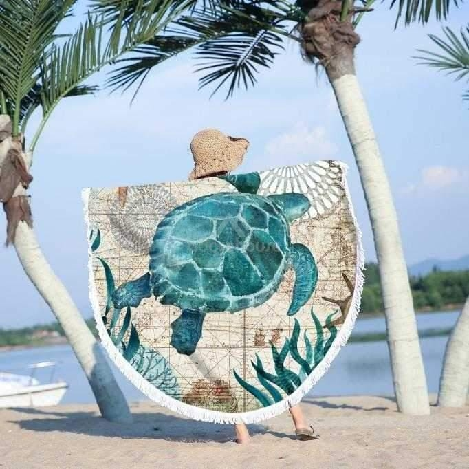 Sea Turtle Large Round Yoga Mat Blanket-Adorehouse.com