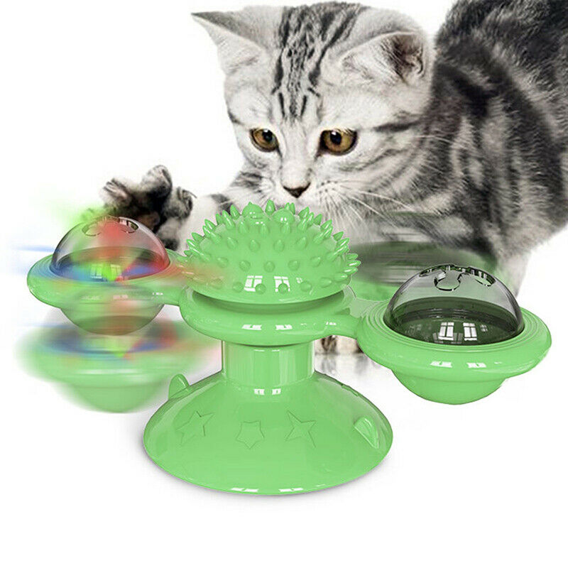 Windmill Cat Toy with Led and Catnip Balls Cat Teasing Toy