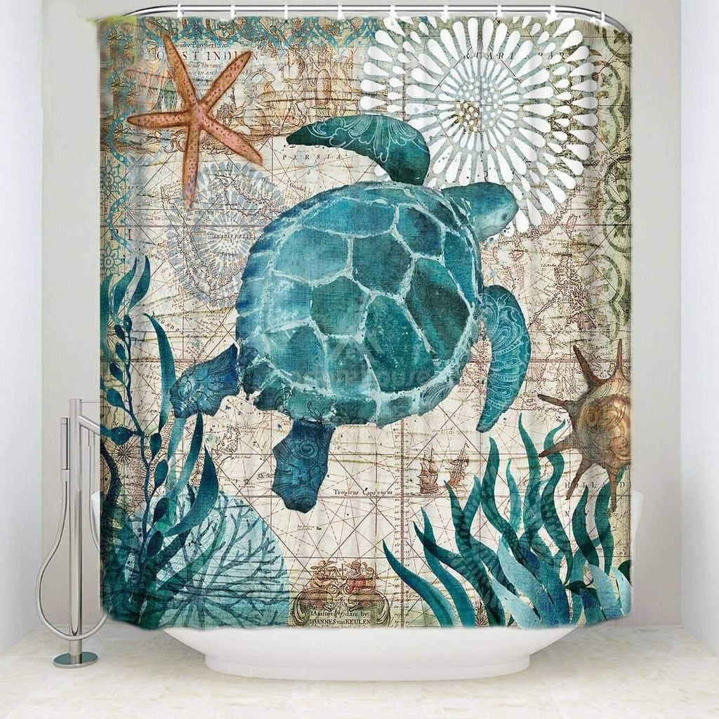 Sea Turtle Ocean Landscape Shower Curtain-Shower Curtains-Adorehouse.com