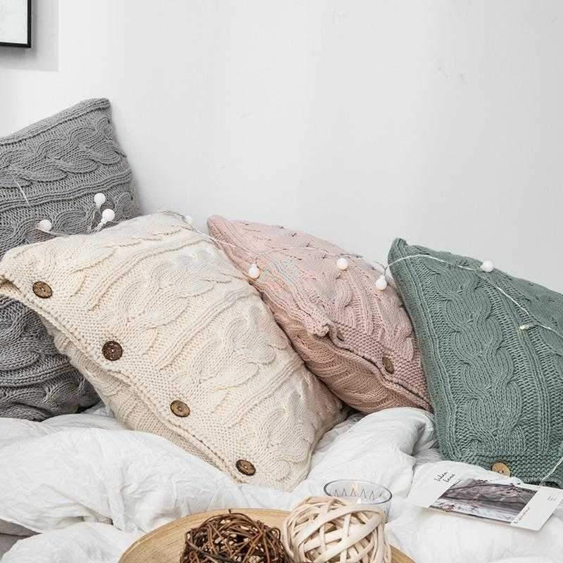 Handmade Knitted Solid Color Throw Pillow Covers-Decorative Pillows-Adorehouse.com