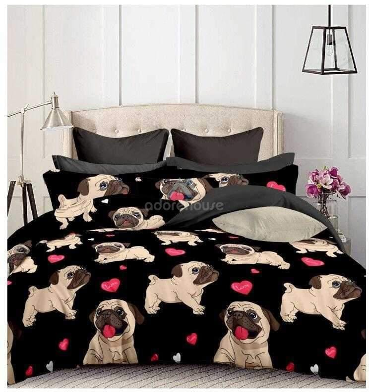 Soft Cute Bulldog Floral Duvet Cover Set 3pc-Duvet Cover Set-Adorehouse.com