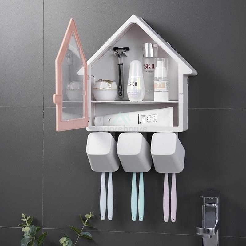 Wall-Mounted Multi-Function Wash Cup Rack-Bathroom Storage-Adorehouse.com