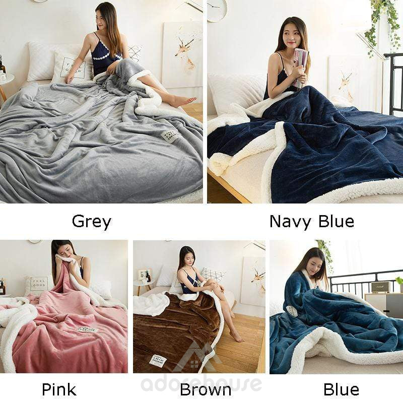 Multipurpose Double thicker Flannel Blanket-Blankets & Throws-Adorehouse.com