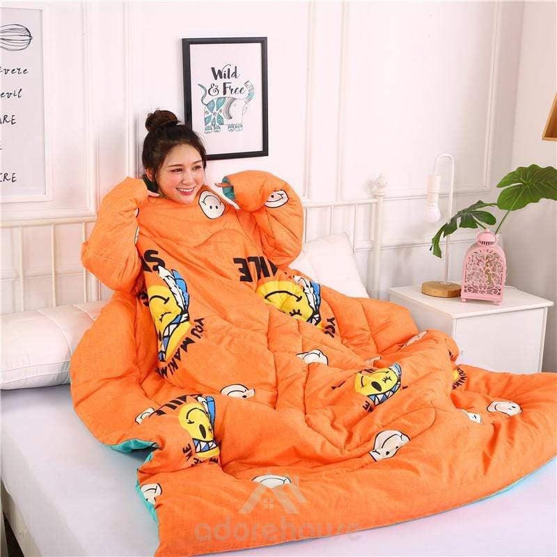 Cute Smiley Double-sided Multifunction Wearable Lazy Blanket-Blankets & Throws-Adorehouse.com