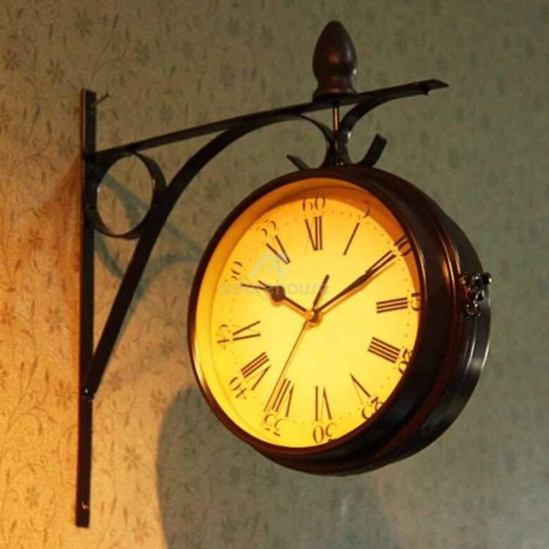 Retro Double Sided Clock Household Silent Wall Clock-Clocks-Adorehouse.com