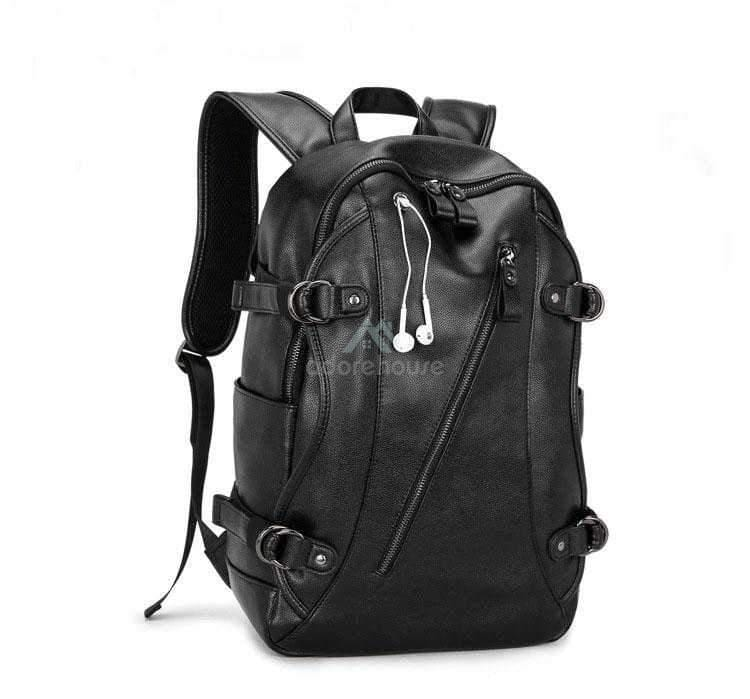 2019 Fashion Black Men Travel Backpack Anti Theft Waterproof Leather Backpacks-Backpacks-Adorehouse.com