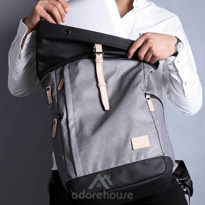 Fashion Waterproof College School Backpacks with USB Charging Port-Backpacks-Adorehouse.com
