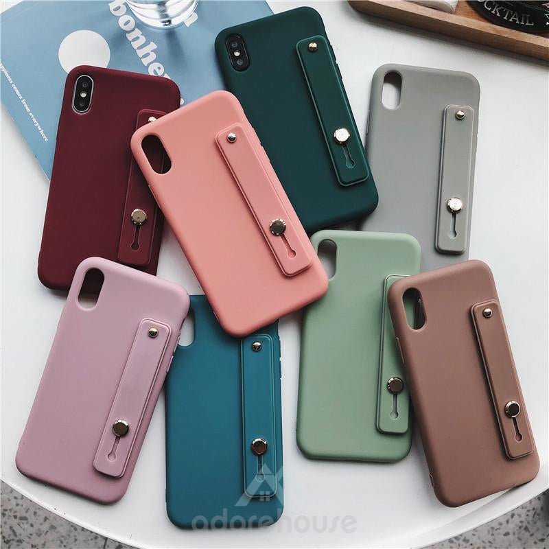 iPhone Solid Color Anti-fall Wristband Phone Case-Phone Accessories-Adorehouse.com