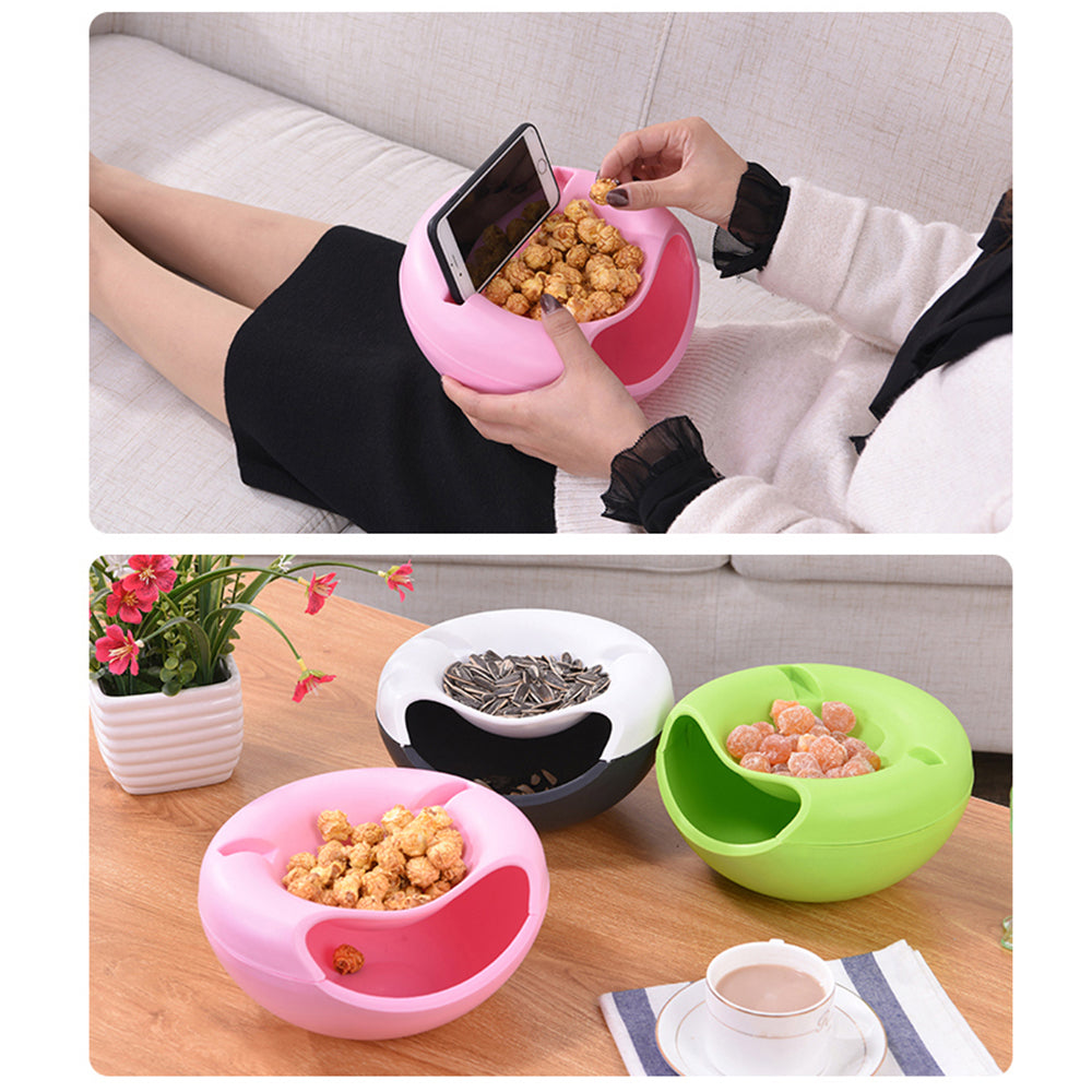 1 PCS Snack Bowl Plastic Double Layers Snack Storage Box Bowl