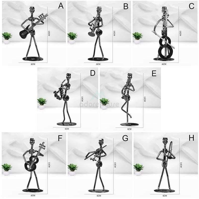 Metal Musician Guitarist Statue Bookshelf Decoration-Crafts & Ornaments-Adorehouse.com