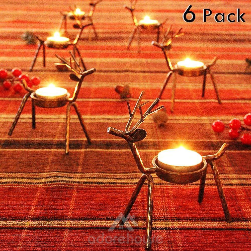 6 Pcs Christmas Metal Reindeer Candle Holder-Christmas Props-Adorehouse.com