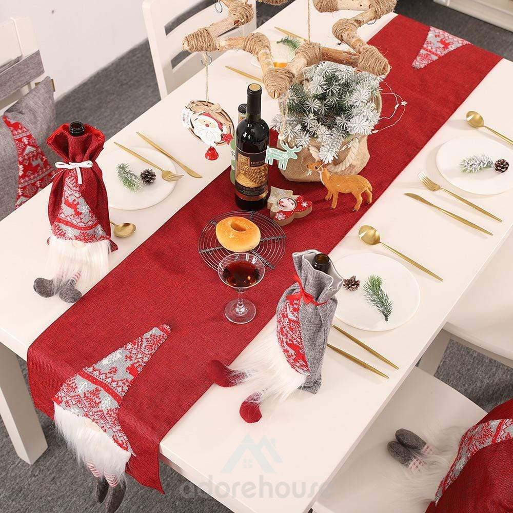 Creative Table Runner with Doll for Table Decor-Christmas Props-Adorehouse.com