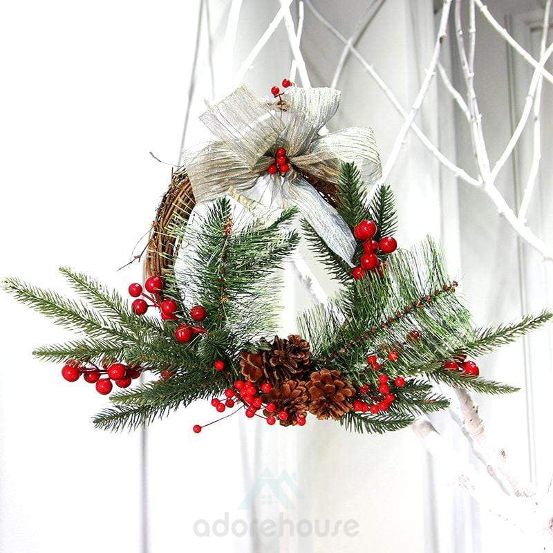 Mixed Pine Berry Cone Christmas Wreath-Christmas Props-Adorehouse.com