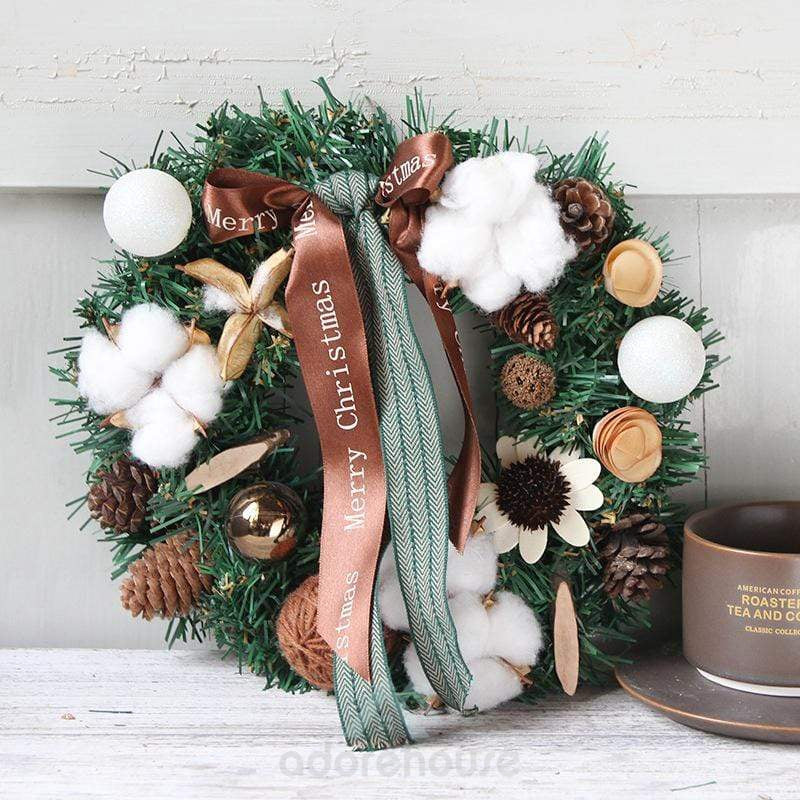 Decorative Collection Christmas Wreath with Cones-Christmas Props-Adorehouse.com