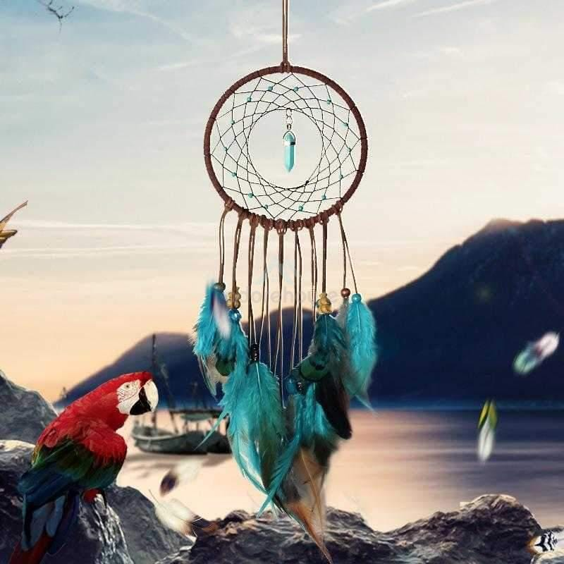 Handmade Feather Beaded Dream Catcher-Wall Decor-Adorehouse.com