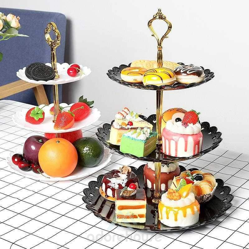 Three-Layer Cake Shelf Dried Fruit Plate Living Room Home Dessert Plate Dessert Rack-Household Storage-Adorehouse.com