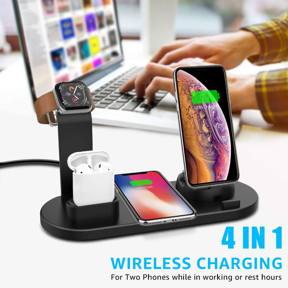 4in1 Fast Wireless Charging Station Dock Stand