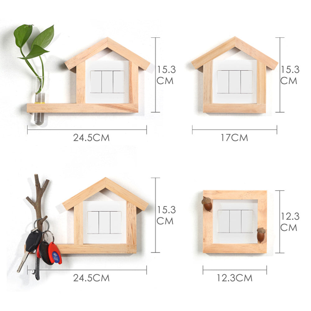 Creative Wooden Switch Protection Rack 3D Wall Decoration