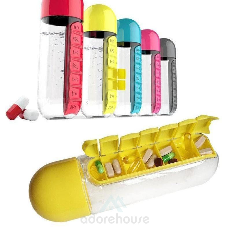 600ML Outdoor Anti-leak Water Bottle with Pill Box-Drinkware & Dinnerware-Adorehouse.com
