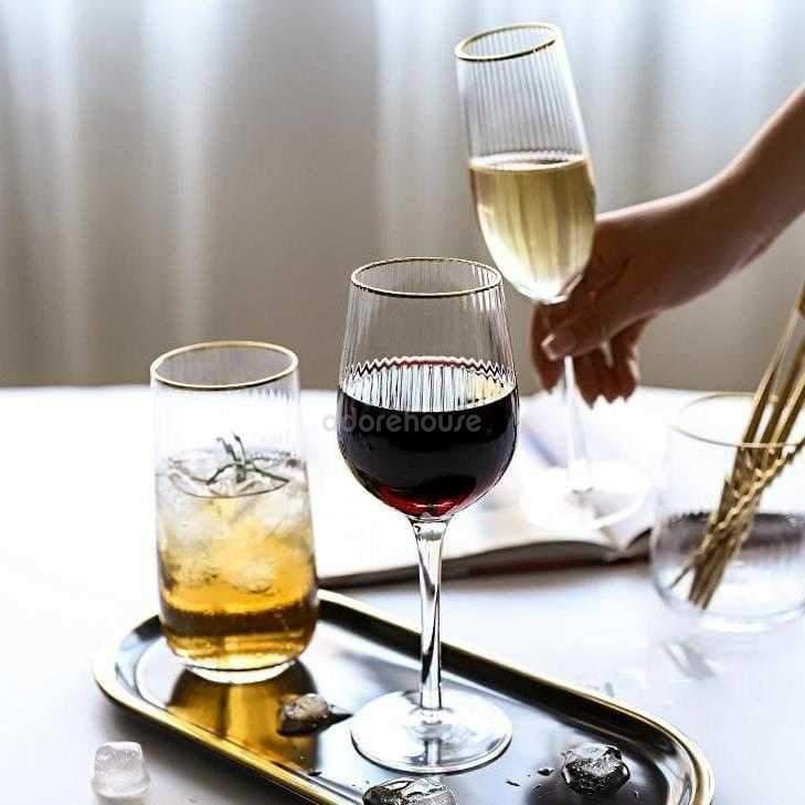 Vertical Stripes Red Wine Crystal Goblet-Drinkware-Adorehouse.com