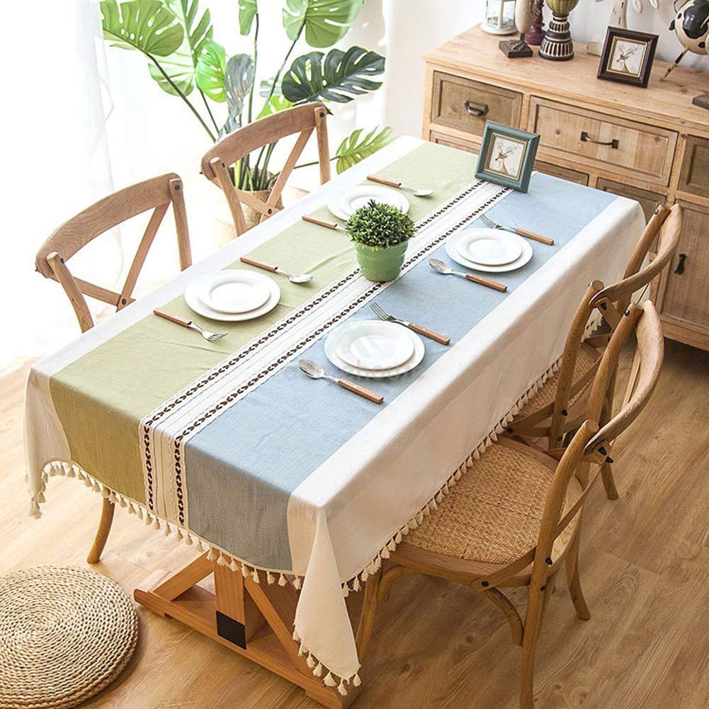 Tassel Stripe Embroidered Cotton Linen Tablecloth-Tablecloth-Adorehouse.com