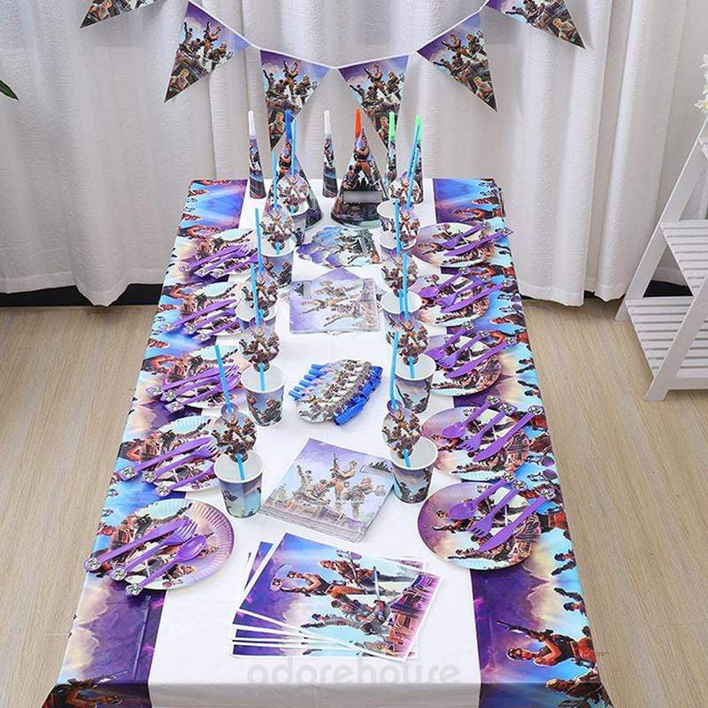 Fortnite Video Game Party Supplies Set-Tablecloth-Adorehouse.com