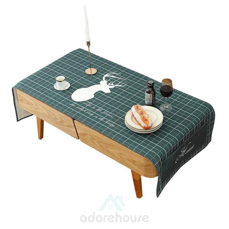 Lattice Deer Dining Table Waterproof Dust Cover-Tablecloth-Adorehouse.com
