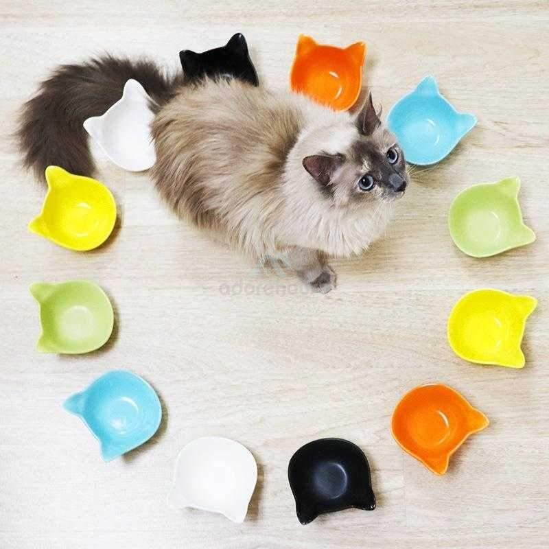 Cute Pure Color Ceramics Cat Food and Water Bowl-Cats-Adorehouse.com