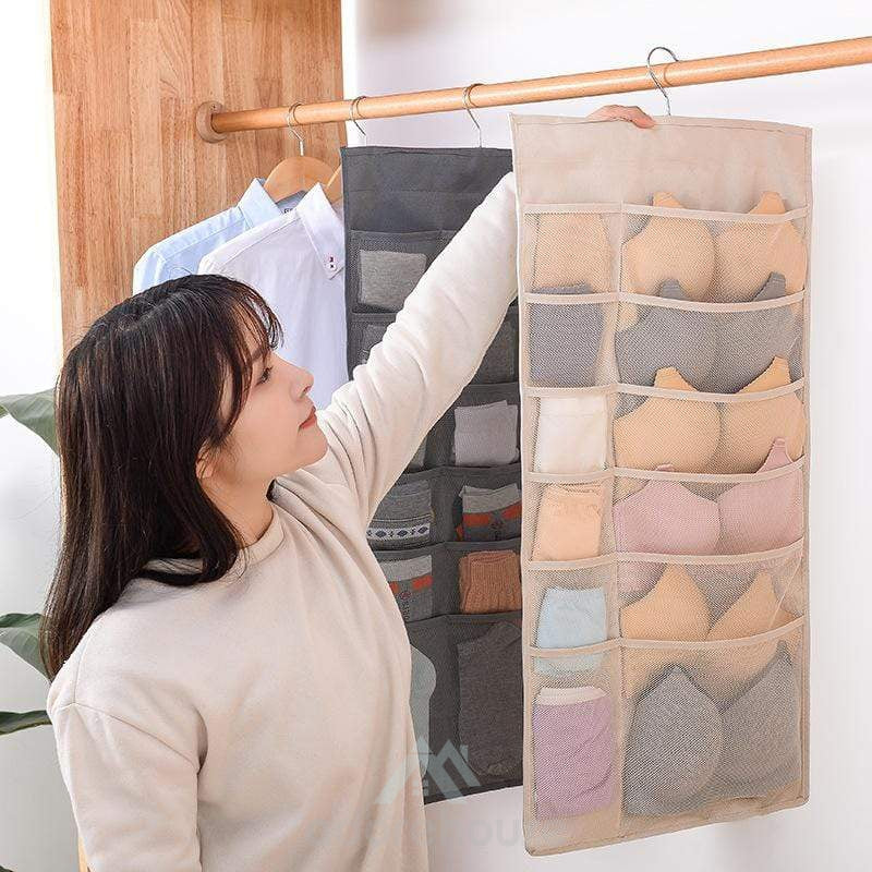Double Sides Closet Hanging Organizer-Clothes & Quilts Storage-Adorehouse.com