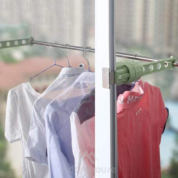 5 Holes Adjustable Window Sill Drying Clothes Rack (2 Pcs)-Clothes & Quilts Storage-Adorehouse.com