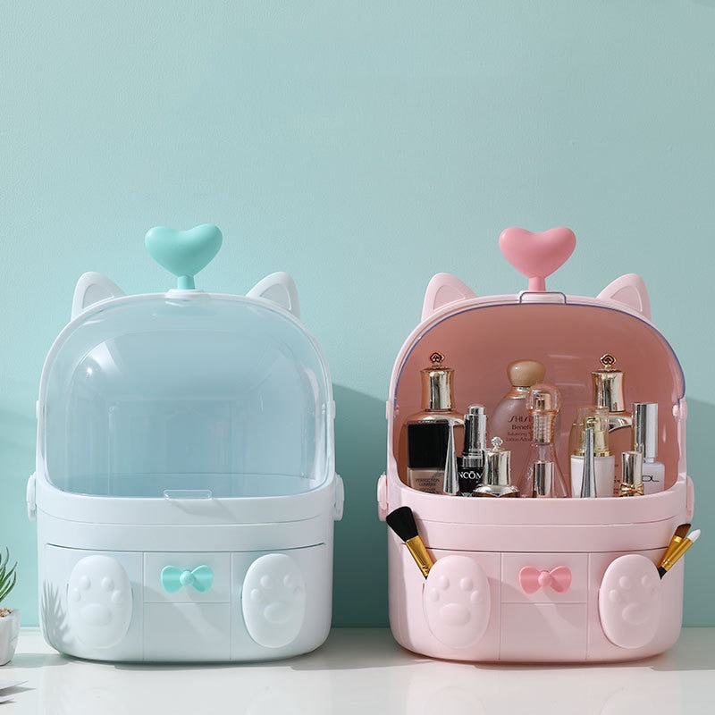 Transparent Makeup Organizer Cute Cosmetic Storage Box