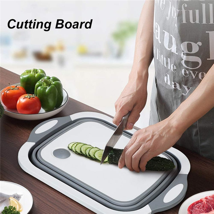 3 in 1 Chopping Block with Colander Kitchen Foldable Cutting Board