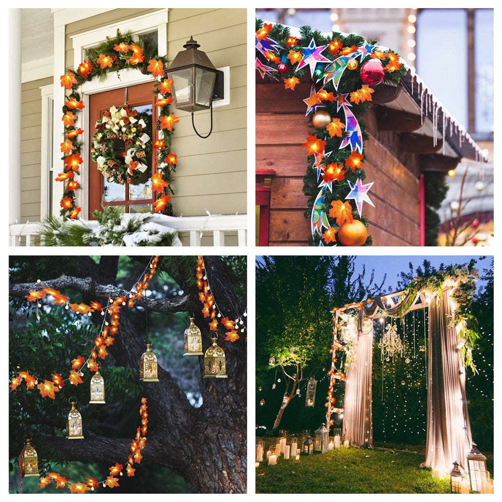 Thanksgiving Decorations Garland LED String Lights