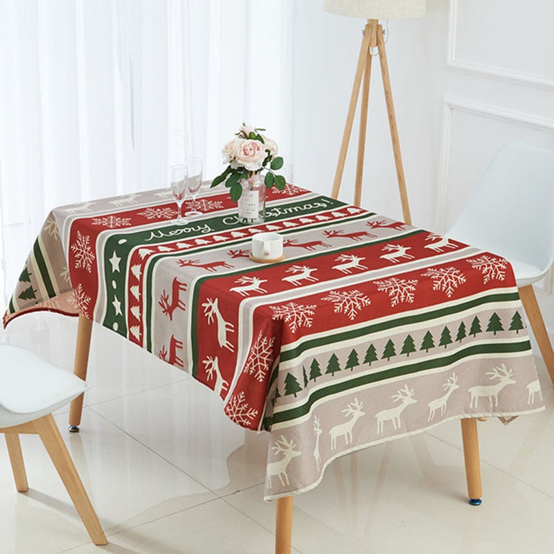 Tablecloth Simple Red Christmas Snow Pattern