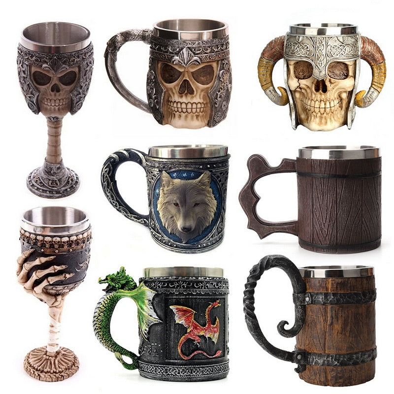 Retro Beer Cup Skull Mug Espresso Coffee Cup Set