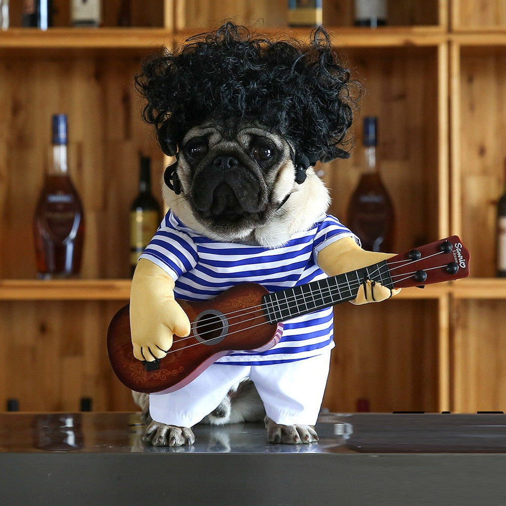 Pet Dog Play The Guitar Costume For Halloween Party