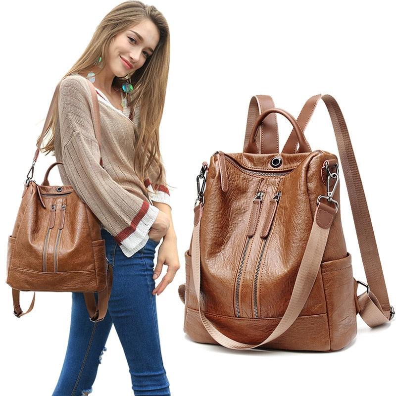 2020 Women Leather Backpacks High Quality Rucksacks