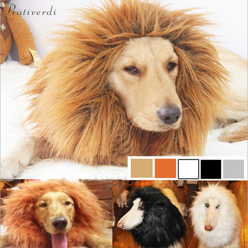 Dog Lion Mane Wig-Light Brown Adjustable Comfortable Funny Wig