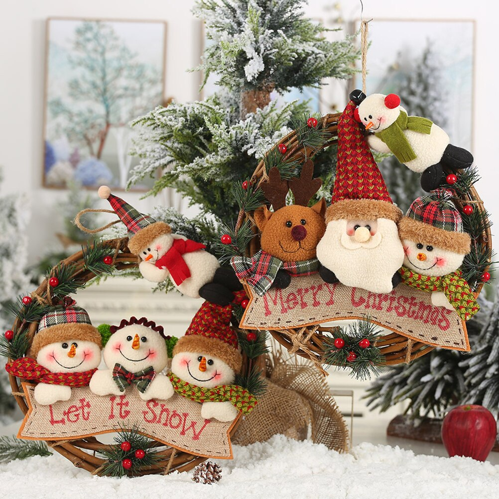 Cute Santa Claus Wreath Christmas Tree Hanging Decoration