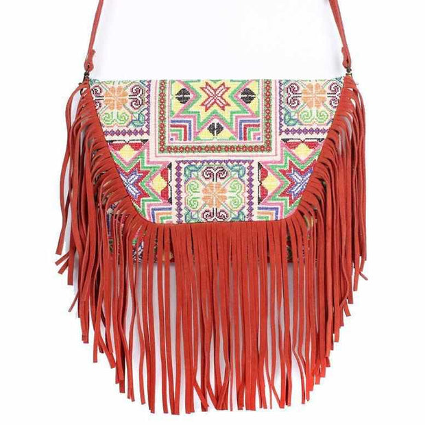 Bella Crossbody Embroidered Fringe Envelope Bag - Thailand-Bags-Lumily