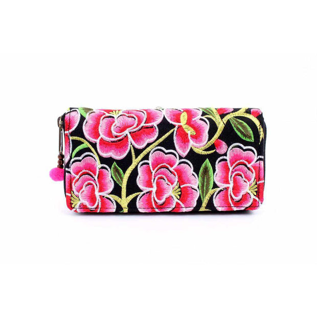 Bali Flower Embroidered Wallet - Thailand-Bags-Lumily