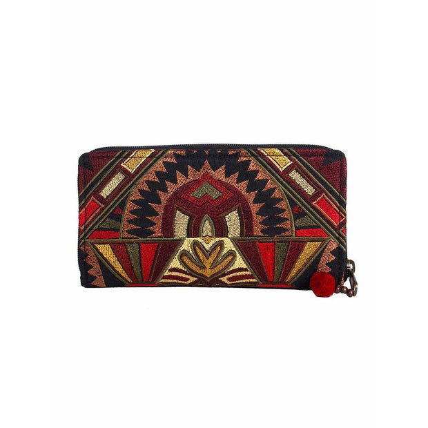 Deco Jaw Embroidered Wallet - Thailand-Bags-Lumily