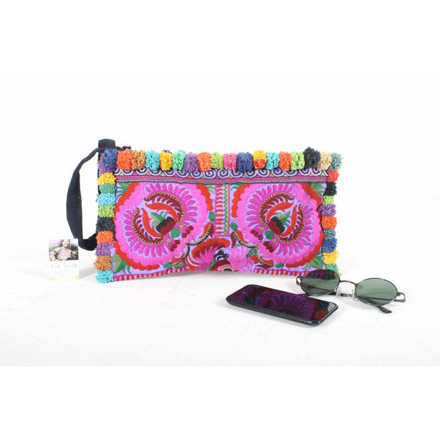 Rocio Multi-Color Pom Pom Wristlet Bag - Thailand-Shop All-Lumily