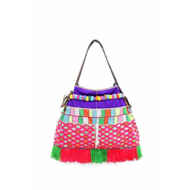 Karen Hill-Tribe Embroidered Tote (Pink) - Thailand-Shop All-Lumily