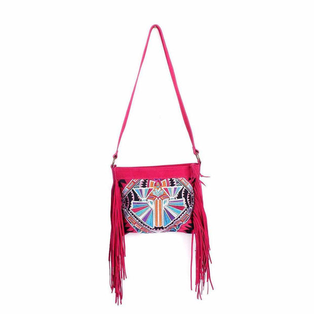 Embroidered Sling Bag With Leather Tassel - Thailand-Shop All-Lumily