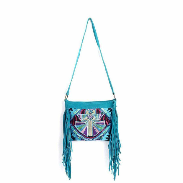 Leather Fringe Embroidered Crossbody Bag - Thailand-Shop All-Lumily