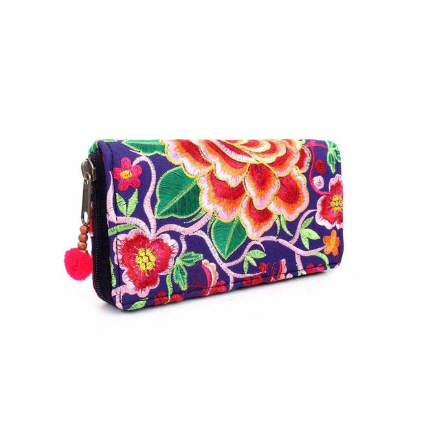 Sunrise Embroidered Wallet - Thailand-Bags-Lumily