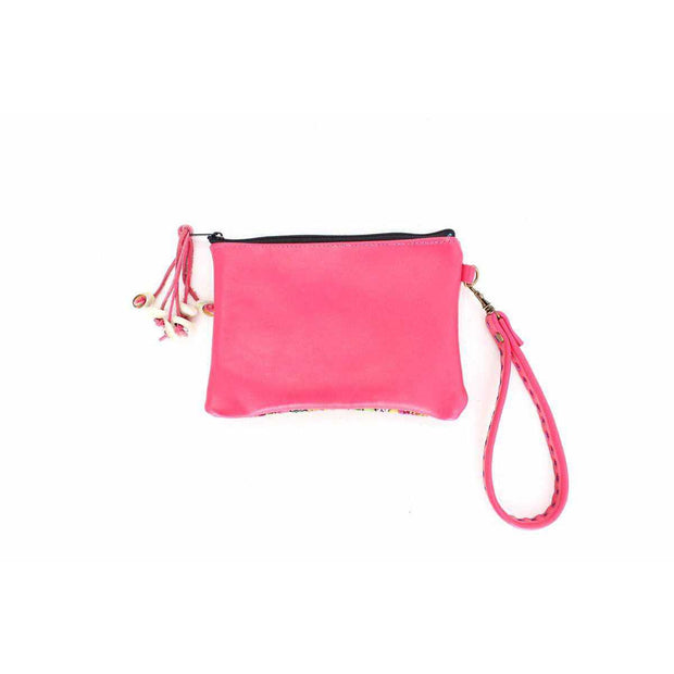 Shelly Vintage Fabric Leather Wristlet - Thailand-Shop All-Lumily