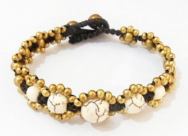 Five Stones Adjustable Brass Bracelet - Thailand