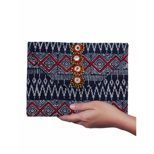 Tribe Envelope Fabric Clutch With Bells - Thailand-Bags-Lumily